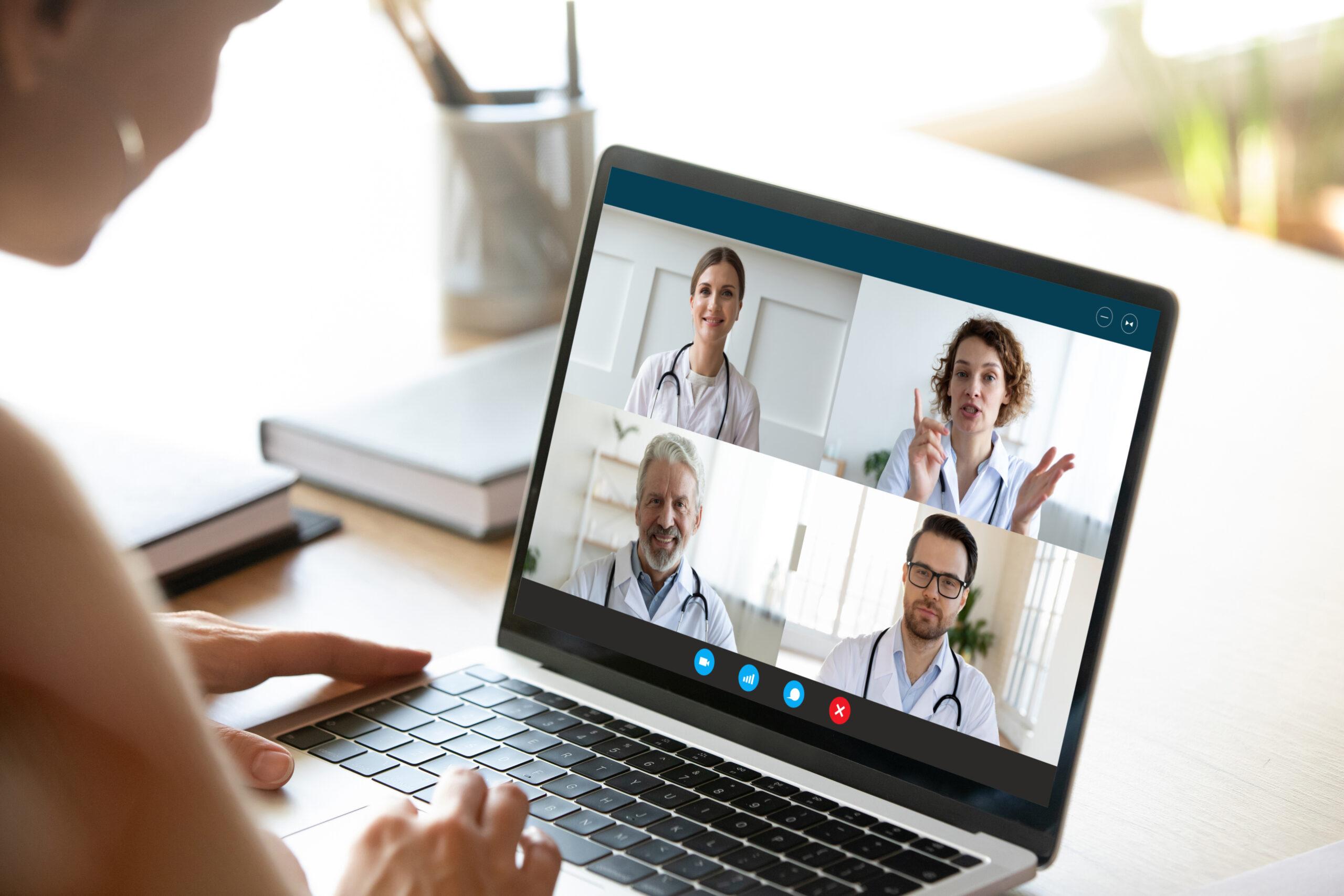 Female nurse have webcam conference